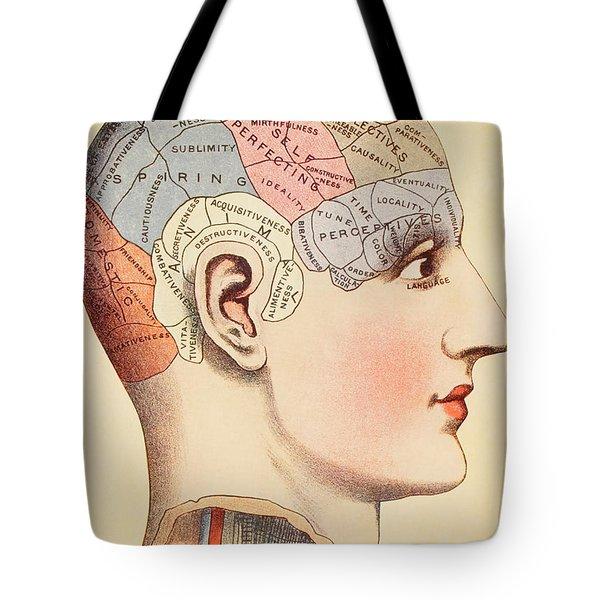 A Phrenological Map Of The Human Brain Tote Bag