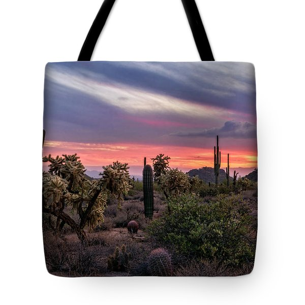 Tote Bag featuring the photograph A Pink Kissed Desert Sunset  by Saija Lehtonen