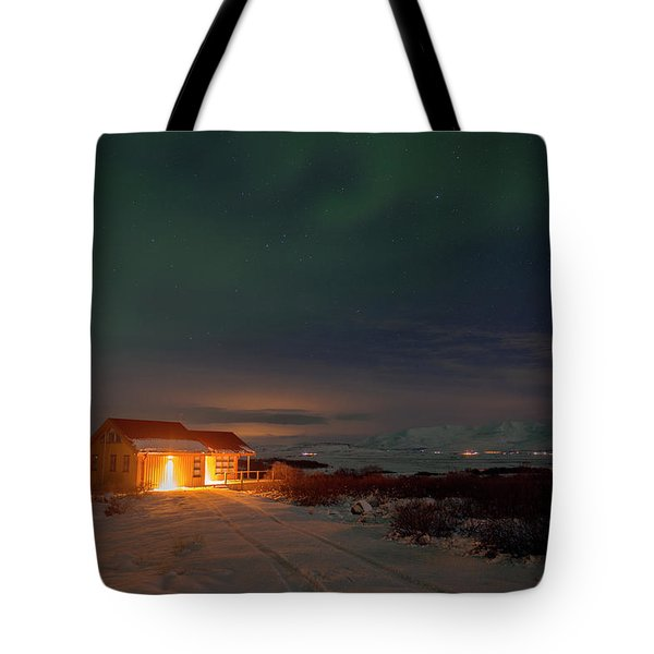 Tote Bag featuring the photograph A Place For The Night, South Of Iceland by Dubi Roman