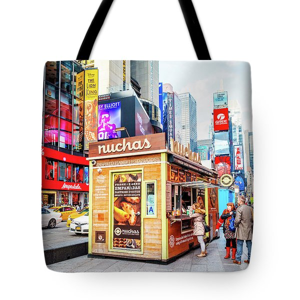 A Portable Food Stand In New York Times Square Tote Bag