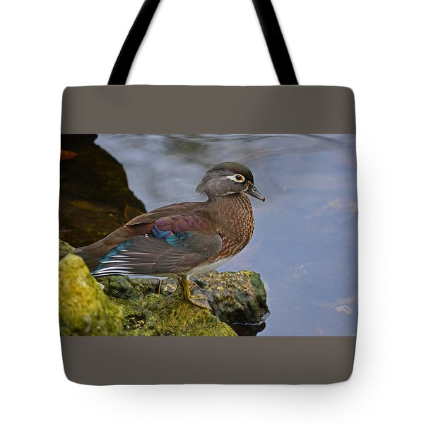 A Pretty Female Painted Wood Duck Tote Bag by Judy Wanamaker
