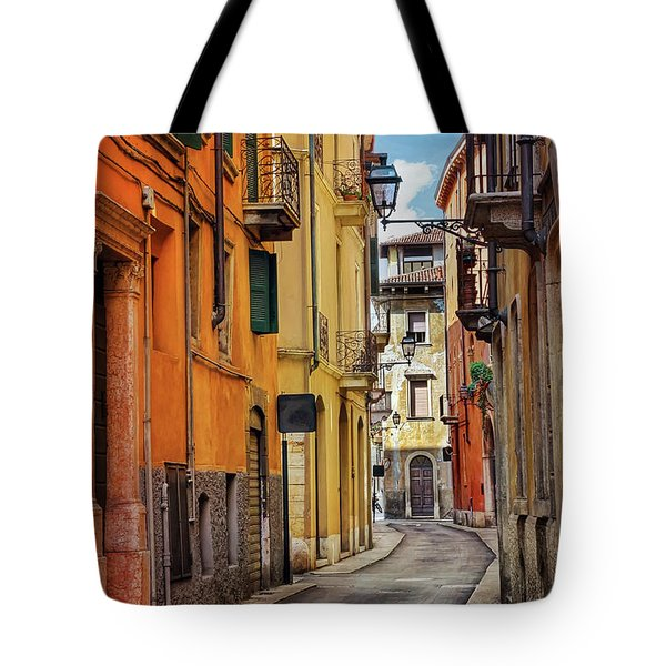 Tote Bag featuring the photograph A Pretty Little Street In Verona Italy  by Carol Japp