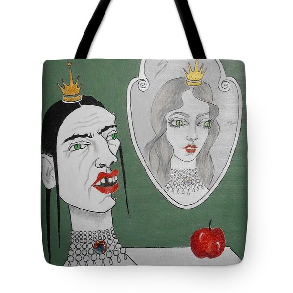 A Queen, Her Mirror And An Apple Tote Bag