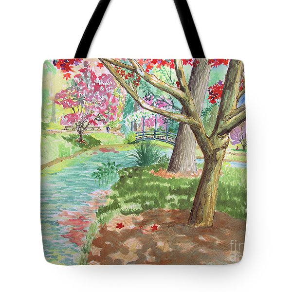 A Quiet Stroll In The Japanese Gardens Of Gibbs Gardens Tote Bag