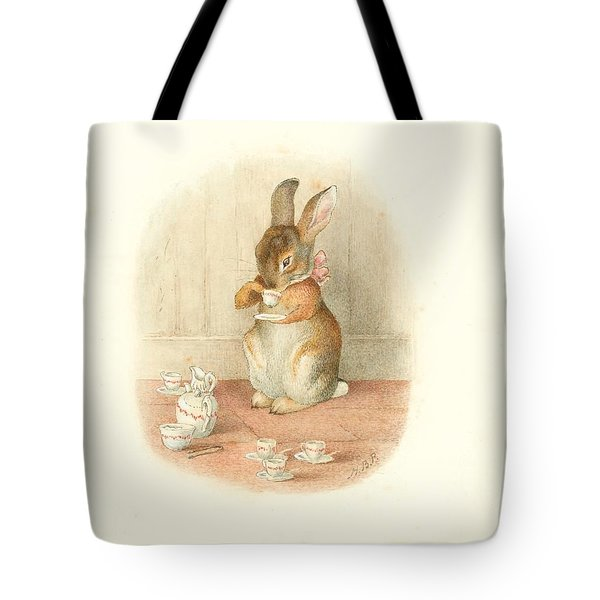 Tote Bag featuring the painting A Rabbit's Tea Party by Beatrix Potter
