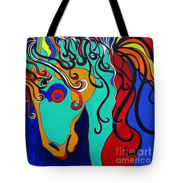 Tote Bag featuring the painting A Rainbow Called Romeo by Alison Caltrider