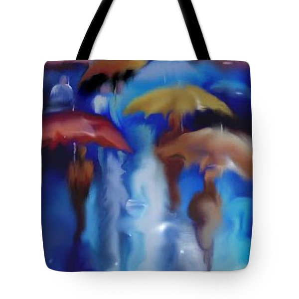 Tote Bag featuring the digital art A Rainy Day In Paris by Darren Cannell