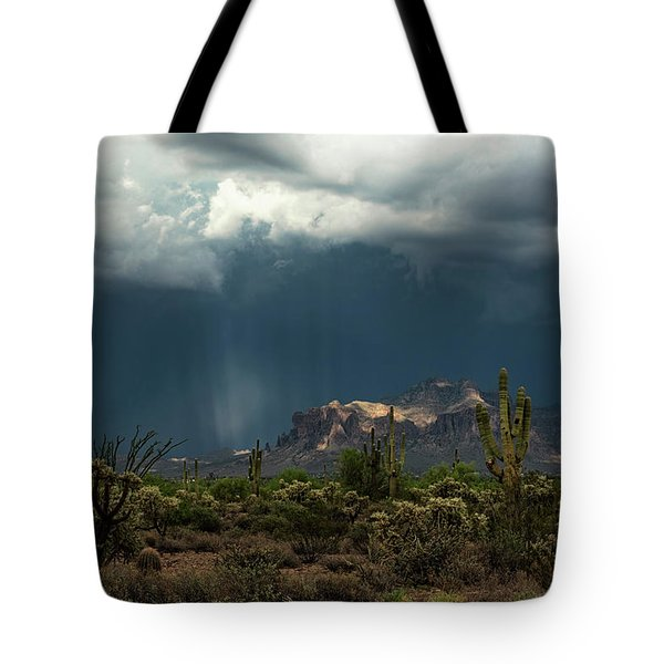 Tote Bag featuring the photograph A Rainy Evening In The Superstitions  by Saija Lehtonen