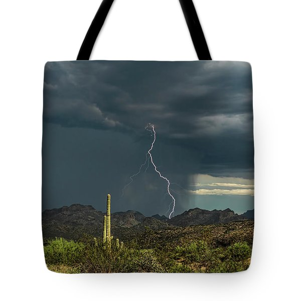 Tote Bag featuring the photograph A Rainy Sonoran Day  by Saija Lehtonen