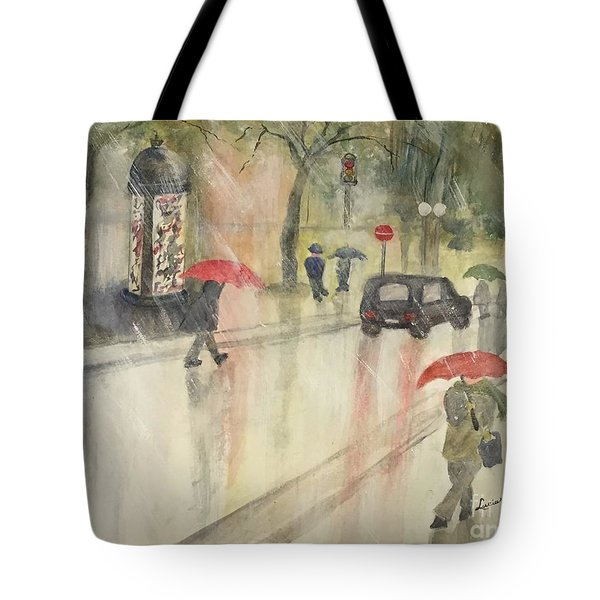 A Rainy Streetscene  Tote Bag by Lucia Grilletto