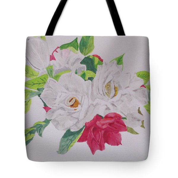 Tote Bag featuring the painting A Rose Bouquet by Hilda and Jose Garrancho