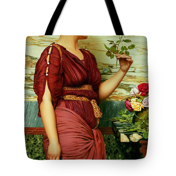 A Red Rose   Tote Bag by John William Godward