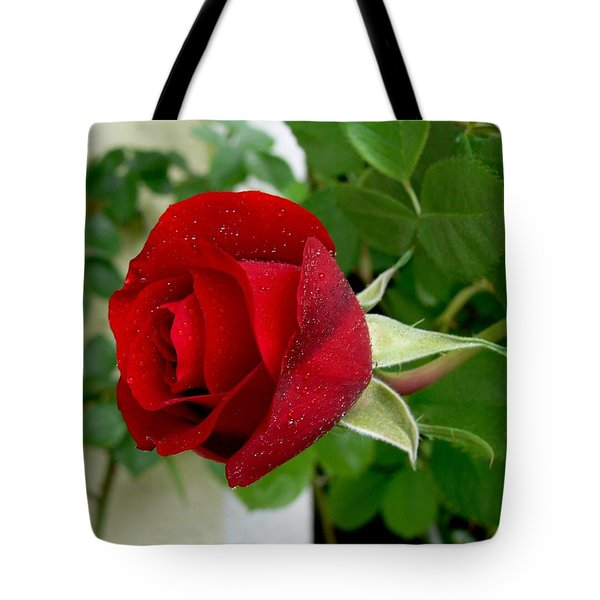 A Red Rose In The Dew Of Pearls Hours Tote Bag by Helmut Rottler