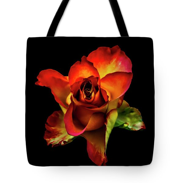 A Red Rose On Black Tote Bag