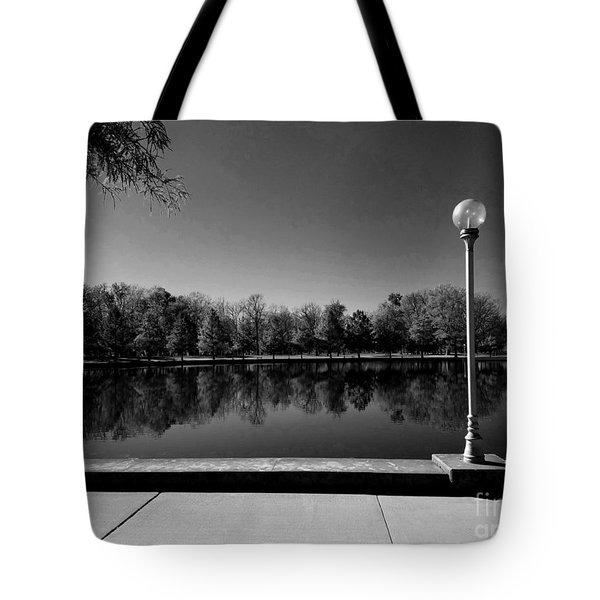 A Reflection Of Fall - Black And White Tote Bag