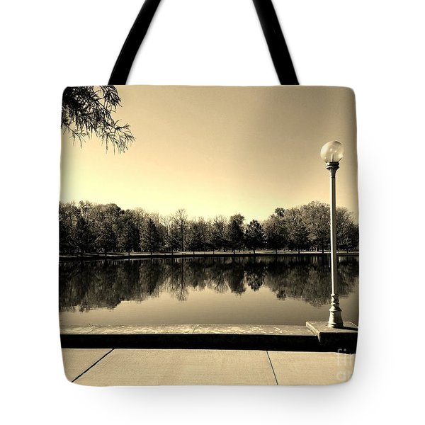 A Reflection Of Fall - Sepia Tote Bag