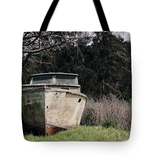 A Retired Old Fishing Boat On Dry Land In Bodega Bay Tote Bag