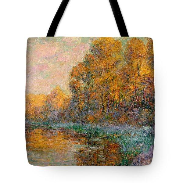 A River In Autumn Tote Bag