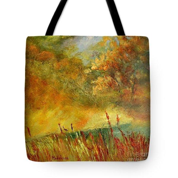 A River Runs Through Tote Bag by Madeleine Holzberg