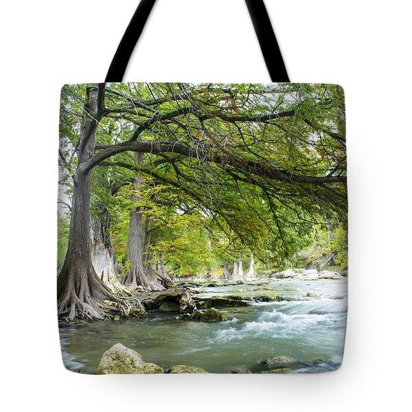 A River Under Bald Cypress Trees Tote Bag