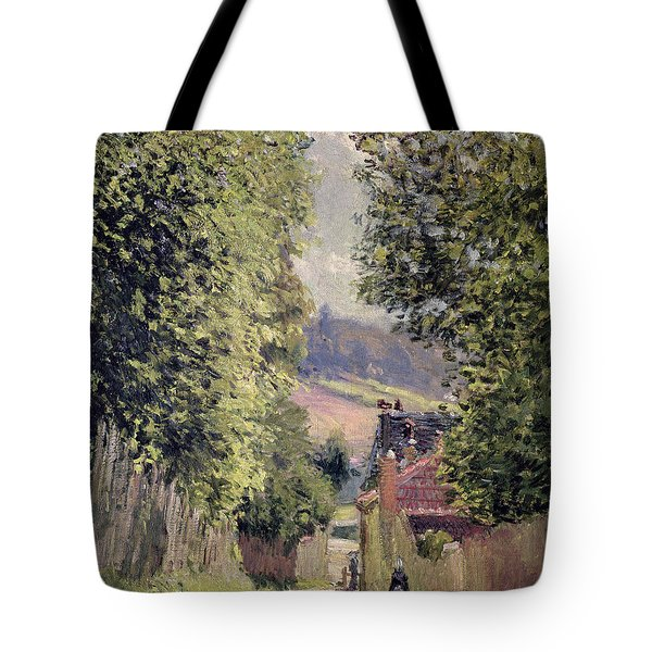 A Road In Louveciennes Tote Bag by Alfred Sisley