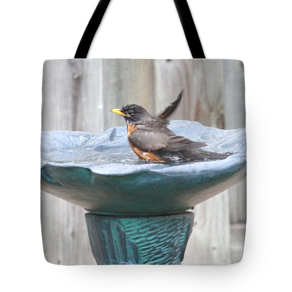A Robin Having A Vigorous Bathhugh Mcclean Tote Bag