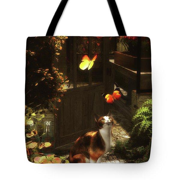 A Romantic Cat Loves Butterflies Tote Bag