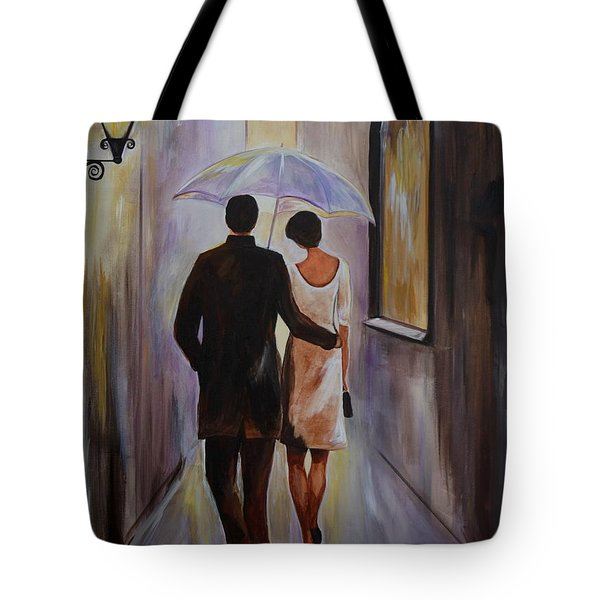 A Romantic Stroll Tote Bag by Leslie Allen
