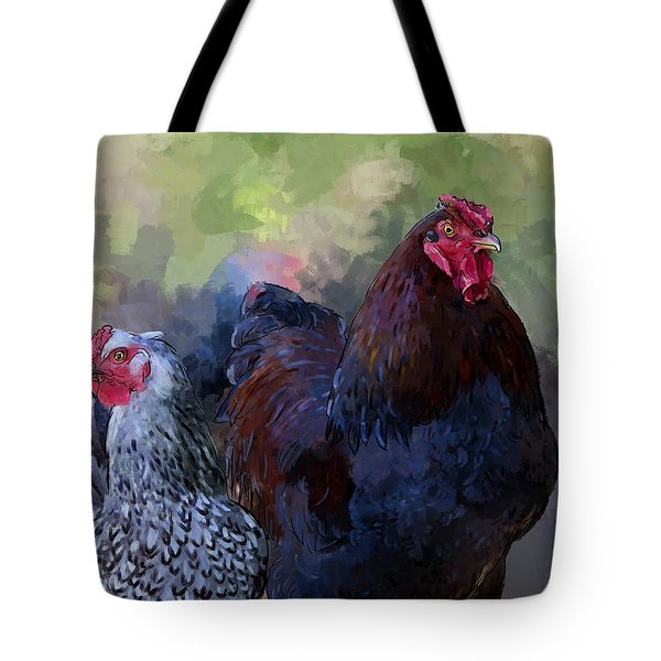 A Rooster And A Hen Tote Bag