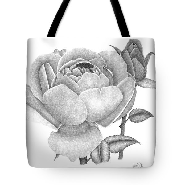 Tote Bag featuring the drawing A Rose Bloom by Patricia Hiltz