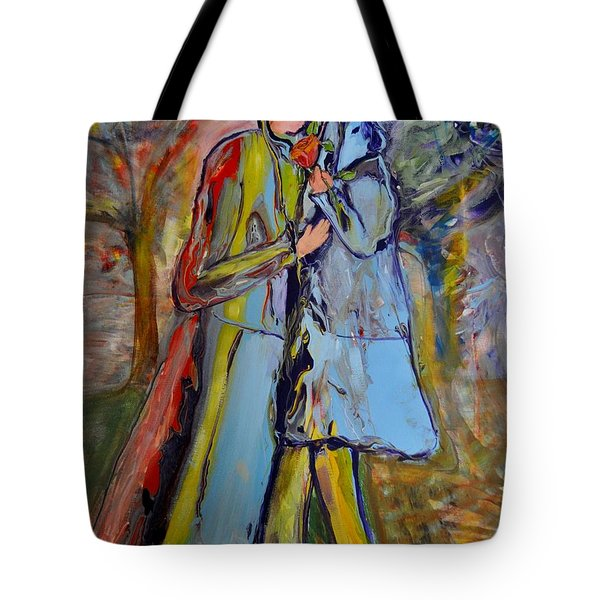 Tote Bag featuring the painting A Rose For My Lady by Deborah Nell