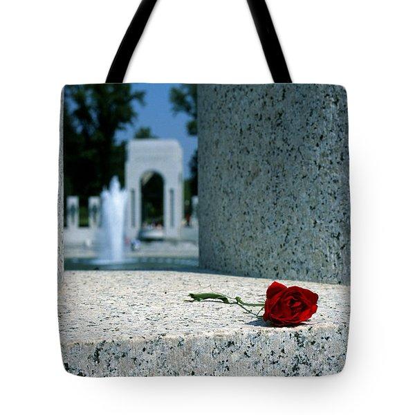 A Rose Memento At The World War II Memorial In Washington Dc Tote Bag