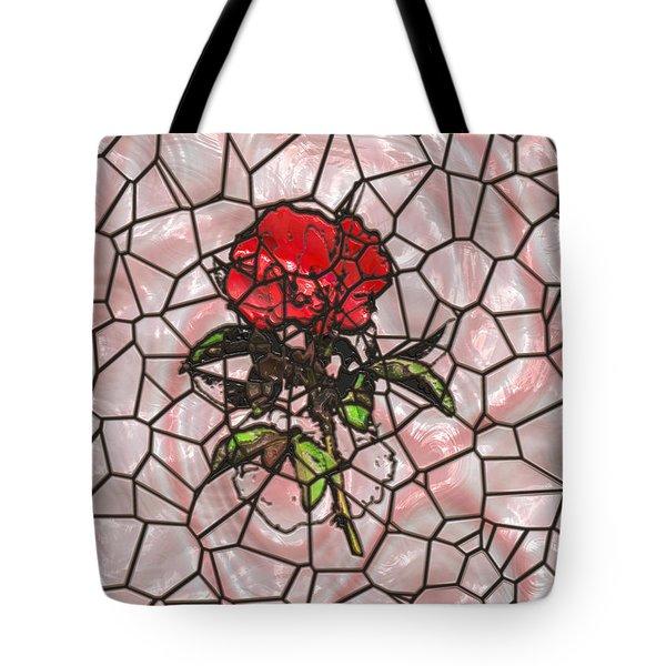 A Rose On Stained Glass Tote Bag by John M Bailey