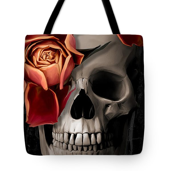 A Rose On The Skull Tote Bag