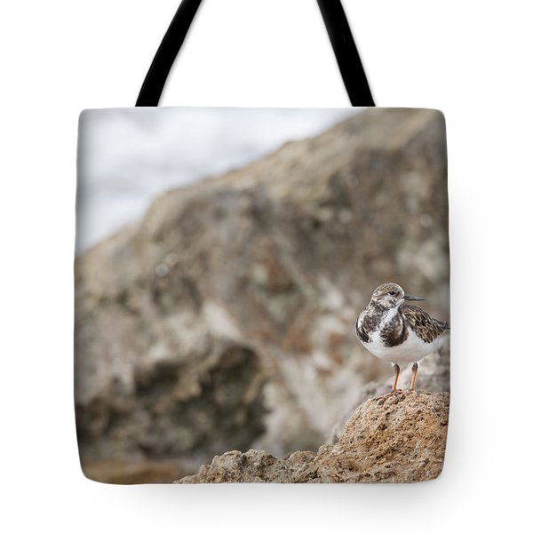 A Ruddy Turnstone Perched On The Rocks Tote Bag