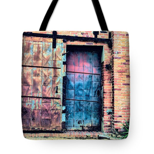A Rusty Loading Dock Door Tote Bag by Diana Mary Sharpton