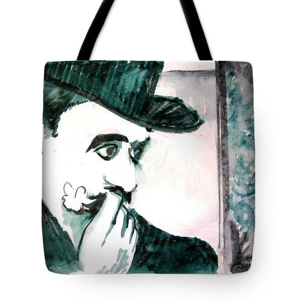 A Sad Portrait Of Chaplin Tote Bag by Seth Weaver