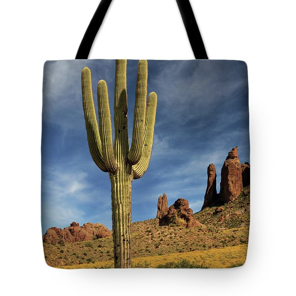 Tote Bag featuring the photograph A Saguaro In Spring by James Eddy