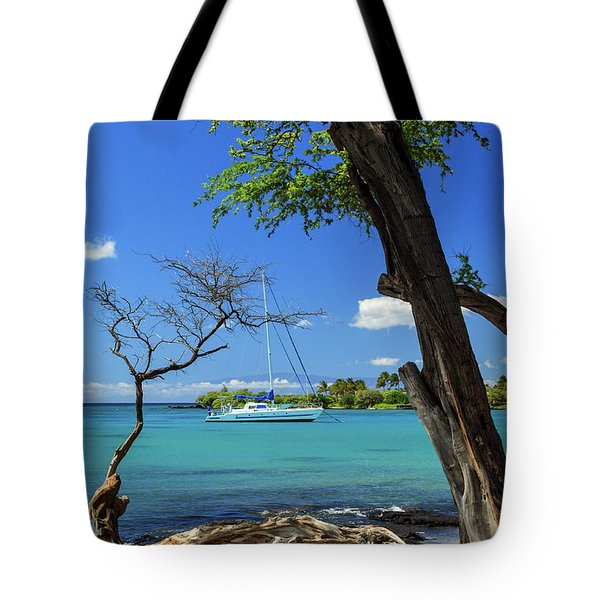 A Sailboat In Anaehoomalu Bay Tote Bag by James Eddy