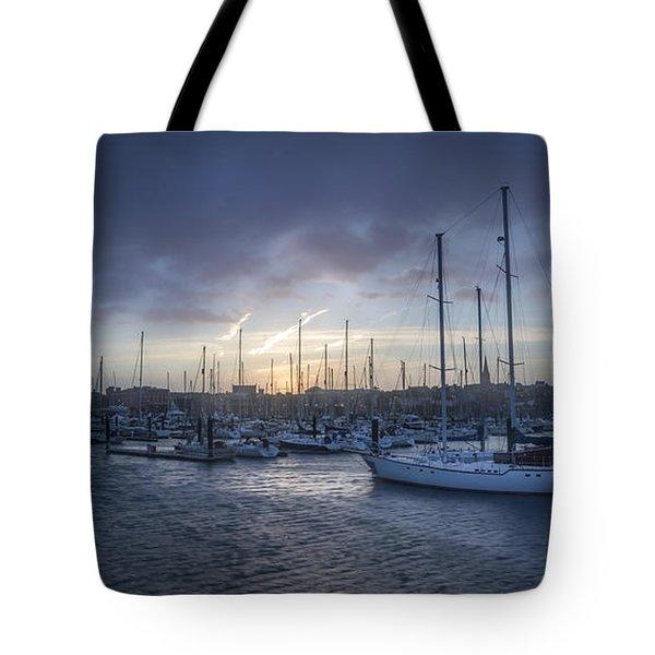 A Sailors Warning At Bangor Marina Tote Bag