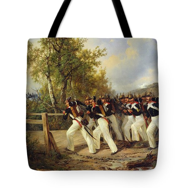 A Scene From The Soldier's Life Tote Bag by Carl Schulz