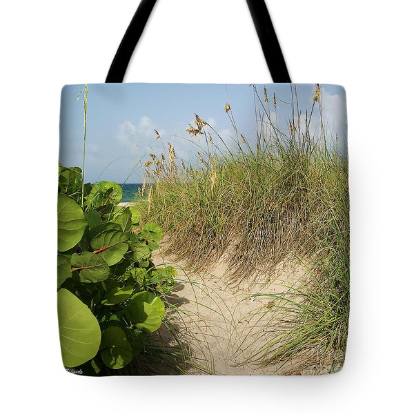 Tote Bag featuring the photograph A Sea Grape Welcome by Michelle Wiarda