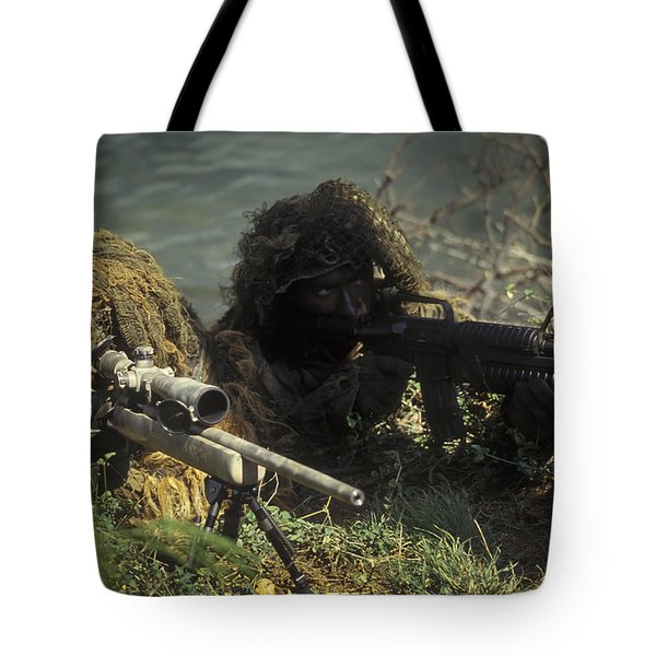 A Seal Sniper Swim Pair Set Up An Tote Bag by Michael Wood