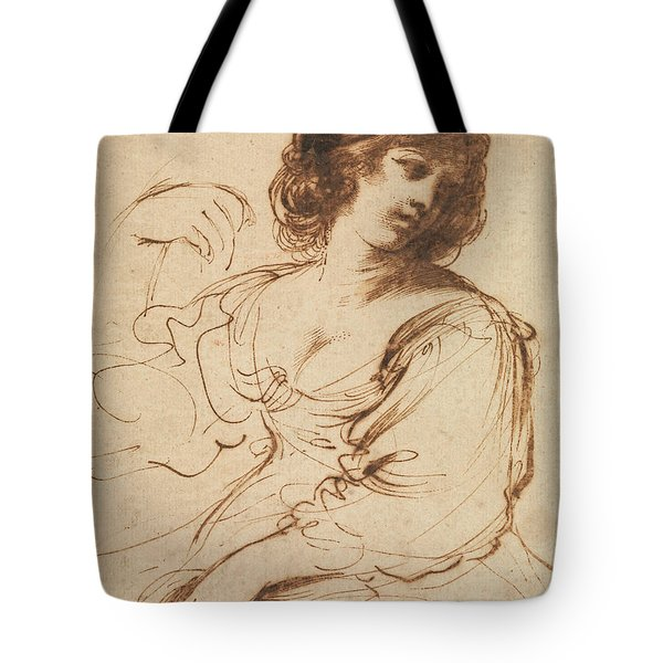 A Seated Young Woman Looking Over Her Shoulder Tote Bag