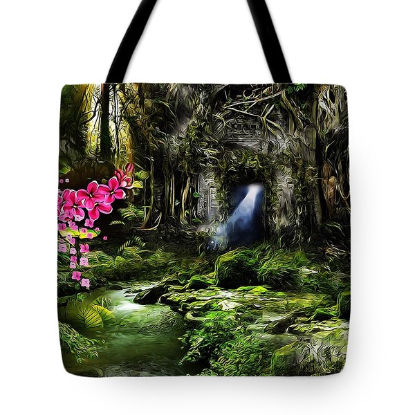 Tote Bag featuring the mixed media A Secret Place by Gabriella Weninger - David