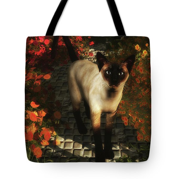 A Siamese Cat Is Looking  Tote Bag