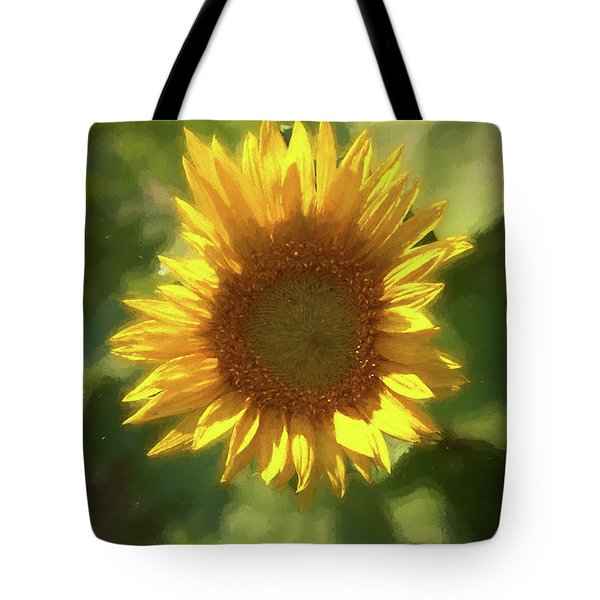 A Single Sunflower Showing It's Beautiful Yellow Color Tote Bag