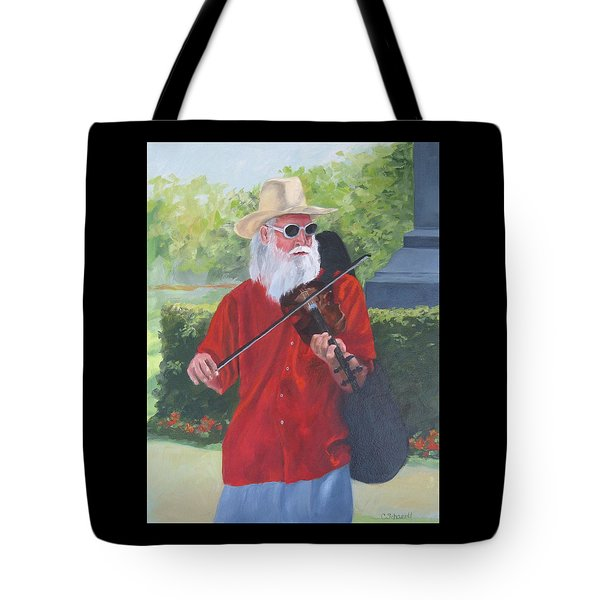 A Slim Fiddler For Peace Tote Bag by Connie Schaertl