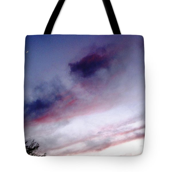 Tote Bag featuring the photograph A Sliver Of Moon by Melissa Stoudt