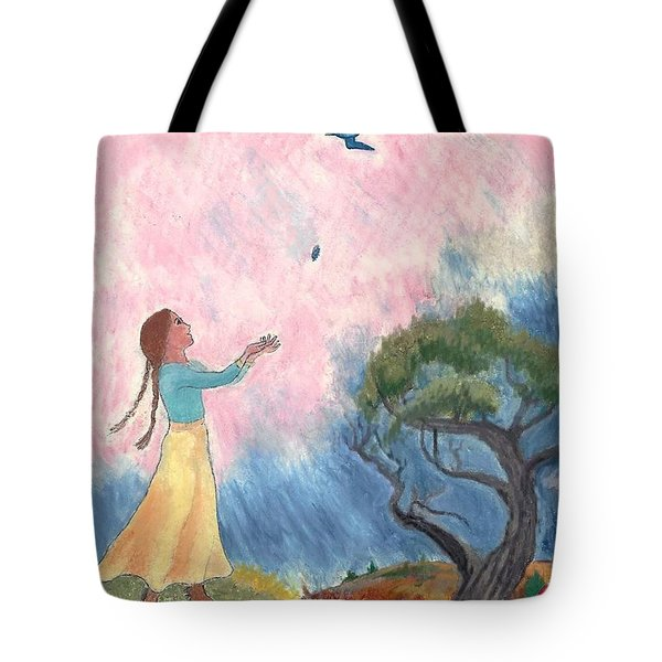 A Small Bird Haiku And Illustration Tote Bag by Dawn Senior-Trask